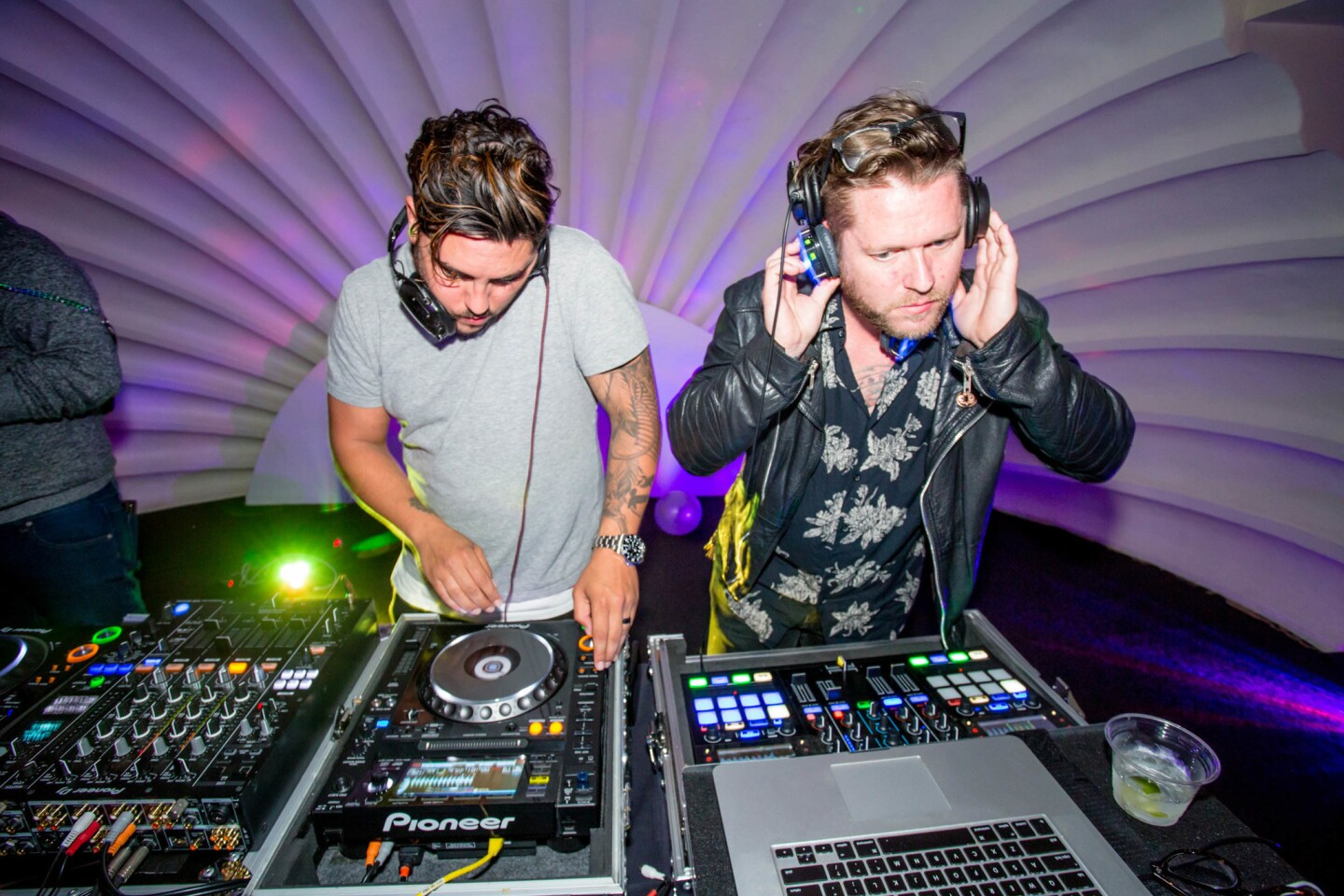 "DJs battled it out while partygoers rocked out wearing headphones at the ""This Ain't No Party"" Silent Disco at the Lafayette Hotel in North Park on Saturday, April 1, 2017. (Bradley Schweit)"