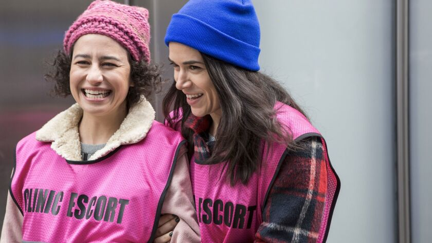 (L-R) Ilana Glazer and Abbi Jacobson on the set of 'Broad City' on Comedy Central.