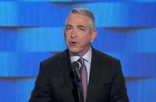 Republican Doug Elmets speaks at the Democratic National Convention