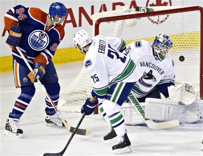 Vancouver Canucks goalie Cory Schneider is scored on as Canucks' Andrew Ebbett, center, and Edmonton Oilers' Ryan Smyth look on during first-period NHL hockey game action in Edmonton, Alberta, Saturday, March 30, 2013. (AP Photo/The Canadian Press, Jason Franson)