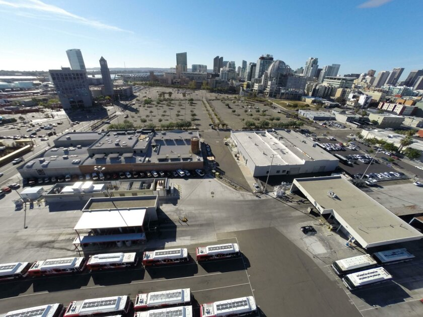 The MTS bus yard at 16th Street and Imperial Avenue is eyed as the site of a new stadium and convention center annex or an office complex for high-tech companies.