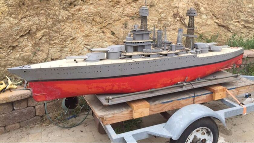 This out-of-water photo of the motorized USS California replica shows how big some of these remote controlled model boats can be.