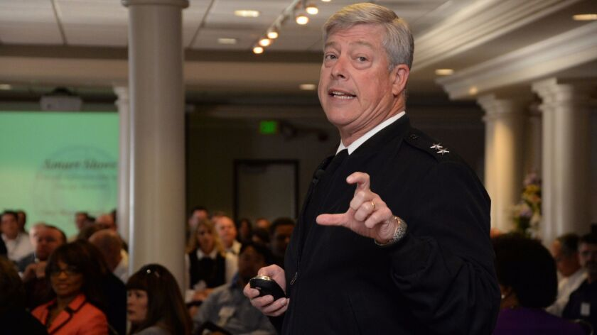 Rear Adm. Patrick J. Lorge, commander of Navy Region Southwest, speaks at a San Diego symposium in 2015. On May 5, Lorge said wrongful command influence played a role in the sex-crime conviction of a Navy SEAL.