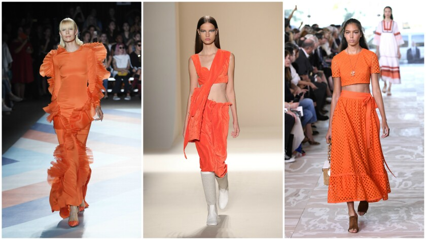 From left, spring/summer 2017 runway looks by Christian Siriano, Victoria Beckham and Tory Burch presented during the September 2016 New York Fashion Week.