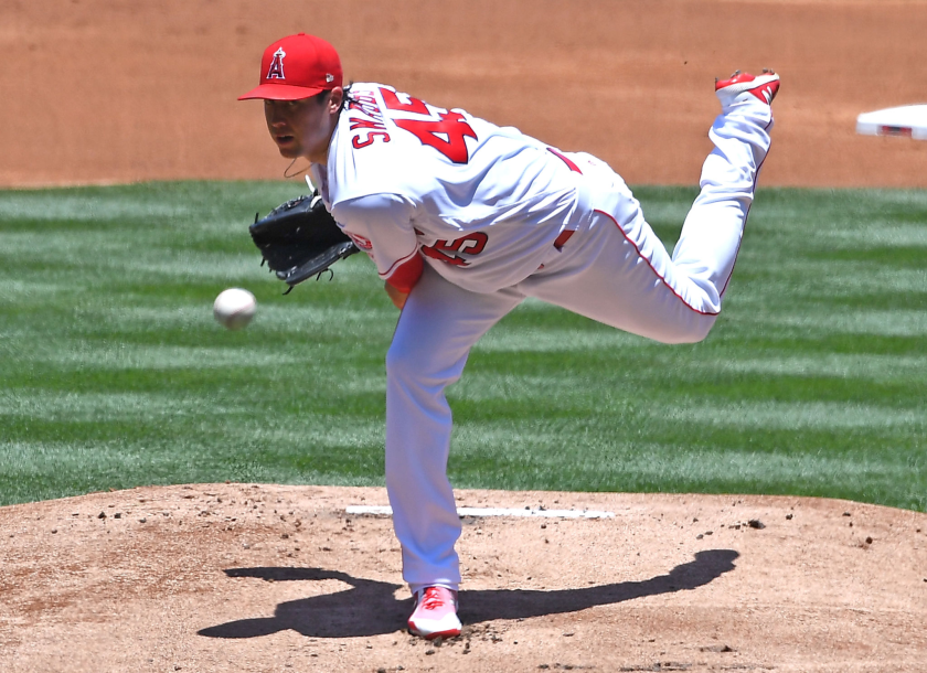 Tyler Skaggs during a game between the Angels and Texas Rangers at Angel Stadium in June 2018.