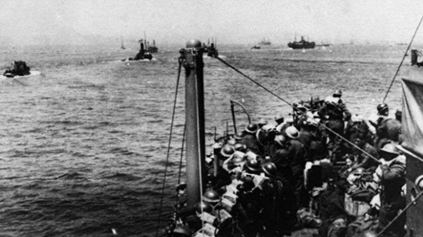 British soldiers evacuate Dunkirk, France, aboard all manner of ships and small boats in 1940.