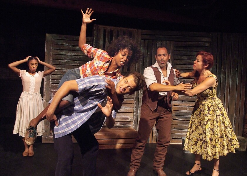 "Chauntae Pink, from left, Bianca Lemaire, Patrick Cragin, Joshua Wolf Coleman and Heidi James in ""Bulrusher"" at the Skylight Theatre."