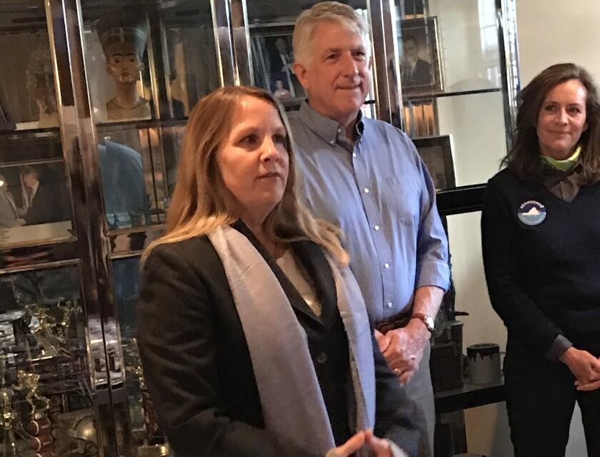 Virginia House of Delegates candidate Wendy Gooditis speaks to volunteers Saturday morning on Leesbu