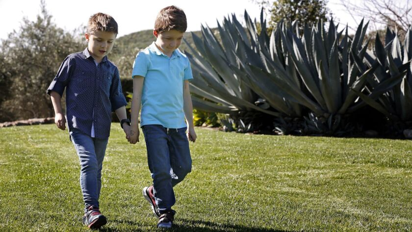 3070558_sd_no_cure_duchenne_NL San Diego, CA January 26, 2019 Yannick Teienne, 6, (left) and