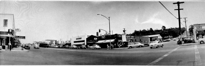 Encinitas in the late 1940s, as seen from the corner of Highway 101 and E Street, looking northeast. Photo courtesy Encinitas Historical Society