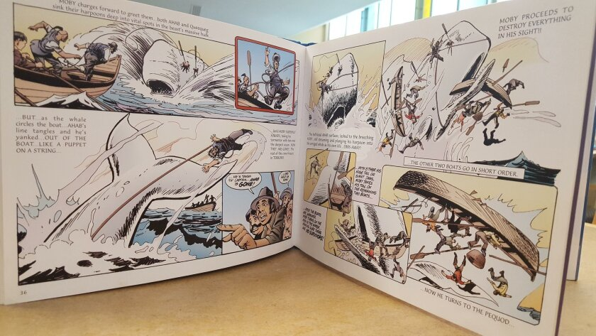 The pages of a graphic novel version of Herman Melville's 'Moby Dick.'