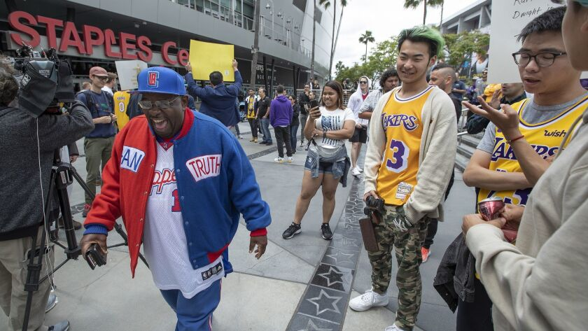 LOS ANGELES, CA-MAY 10, 2019: Los Angeles Clippers fan known Darrell Bailey, better known as Clippe
