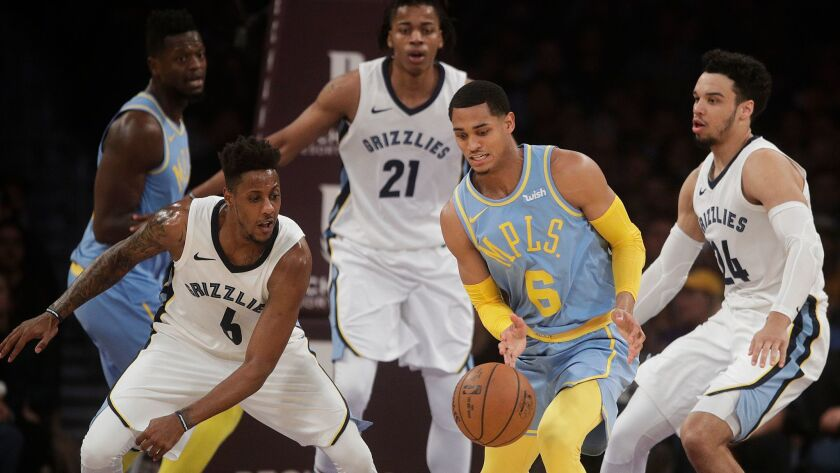 Lakers' Jordan Clarkson (6) is defended by Memphis' Mario Chalmers, left, and Dillon Brooks on Dec. 27 at Staples Center.