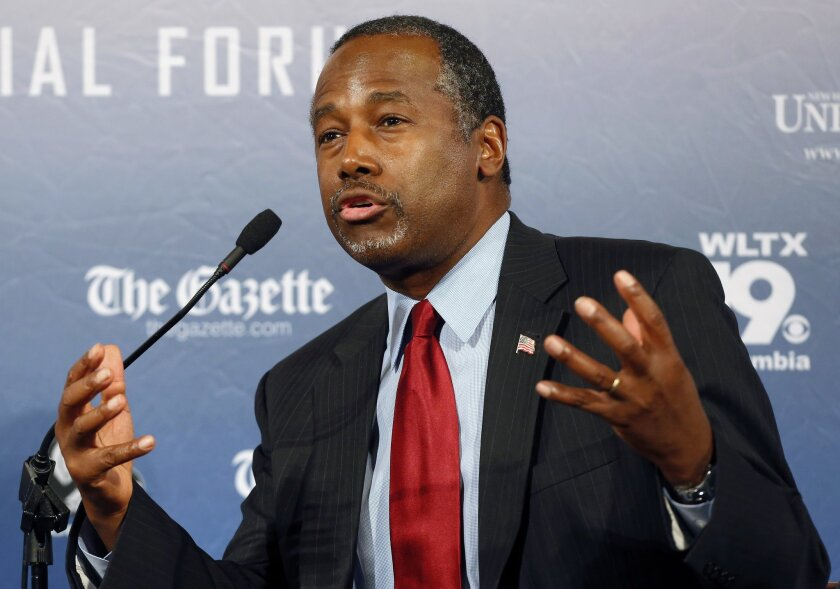 Republican presidential candidate Ben Carson, a devout Christian, said in a recent interview that Islam is antithetical to the Constitution and he doesn't believe that a Muslim should be elected president. Above, Carson speaking in New Hampshire in August.