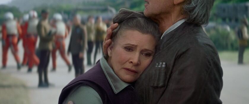 """Carrie Fisher (General Leia) and Harrison Ford (Han Solo) in """"Star Wars: The Force Awakens."""""""