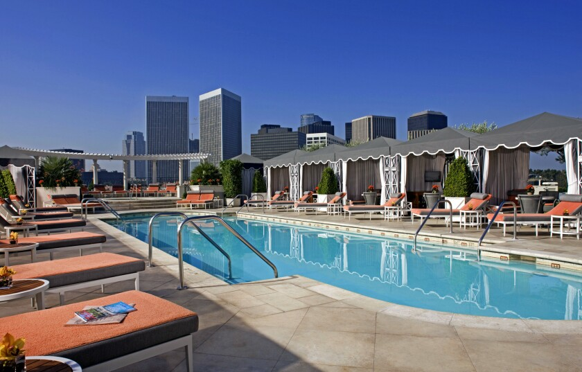 The roof pool and garden at the Peninsula Beverly Hills.