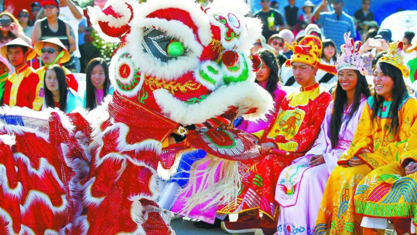 SAN DIEGO, CA: FEBRUARY 4, 2017   The San Diego Lucky Lion Dancers perform Saturday during the seco