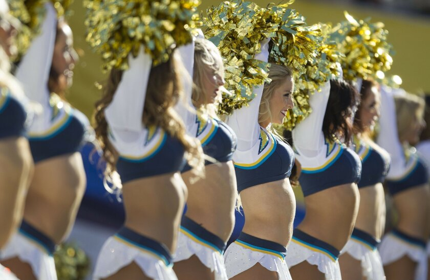 The San Diego Chargers vs. The St. Louis Rams at Qualcomm Stadium.Charger girls entertained.