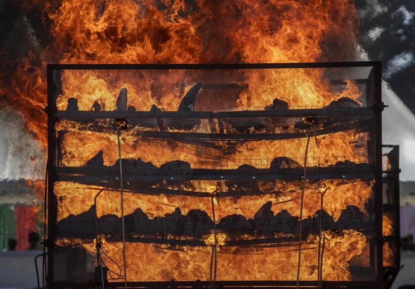 Miles de cuernos de rinoceronte que estuvieron bajo custodia del gobierno durante décadas, arden en un acto para conmemorar el Día Mundial del Rinoceronte, en Bokakhat, cerca del Parque Nacional de Kaziranga, en el estado nororiental de Assam, India, el 22 de septiembre de 2021. (AP Foto/Anupam Nath)