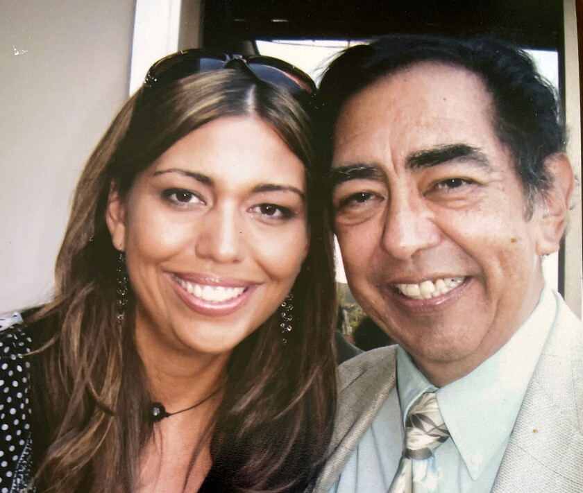 Jesse Macias smiles with daughter Mariana Palmer.