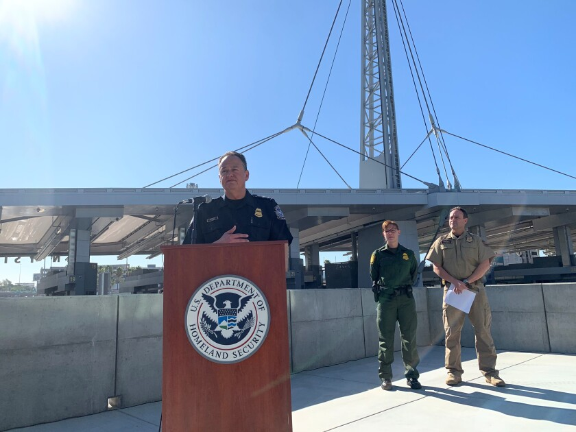 Pete Flores, Director of Field Operations in San Diego for Customs and Border Protection, discusses fiscal year 2019 apprehension and drug seizure data during a press conference at San Ysidro port of entry on Nov. 1, 2019.