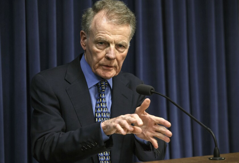 """FILE - In this July 26, 2017, file photo, Illinois House Speaker Michael Madigan, D-Chicago, speaks at a news conference at the Capitol in Springfield, Ill. Illinois House Republicans have moved to form a special investigative committee on Speaker Madigan, who has been implicated in a federal bribery investigation. Republicans petitioned to form the committee this week, saying Wednesday, Sept. 2, 2020, that the House must """"do its job and conduct a thorough investigation."""" (Justin Fowler/The State Journal-Register via AP, File)"""