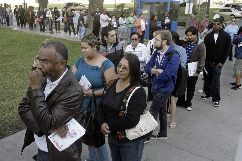 Voters in Los Angeles wait to cast their ballots in Norwalk during the November 2008 presidential election. More than 60% of Californians who were eligible to vote cast ballots in that election, the highest turnout since 1972.