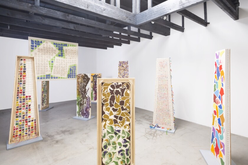 """Installation view of Dona Nelson's show """"Painting the Magic Mountain"""" at Michael Benevento Gallery in Los Angeles."""