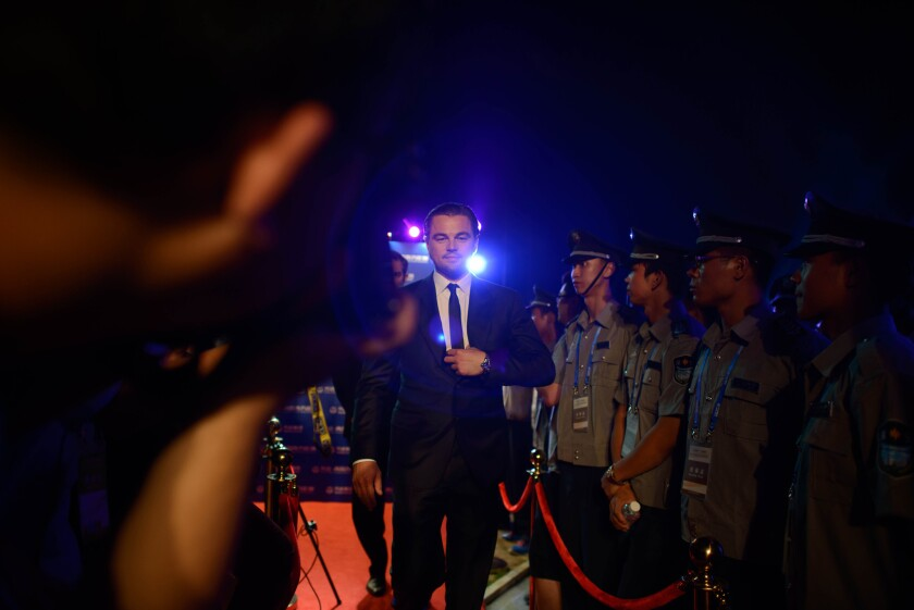 """Leonardo DiCaprio attends a red carpet event for the Wanda """"Oriental Movie Metropolis,"""" billed as China's answer to Hollywood, in the Eastern port city of Qingdao on Sept. 22, 2013."""