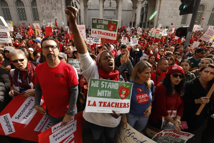 LOS ANGELES, CA - JANUARY 18, 2019 - - Dolly Sanders. center, a teacher at the Grant Elementary Scho