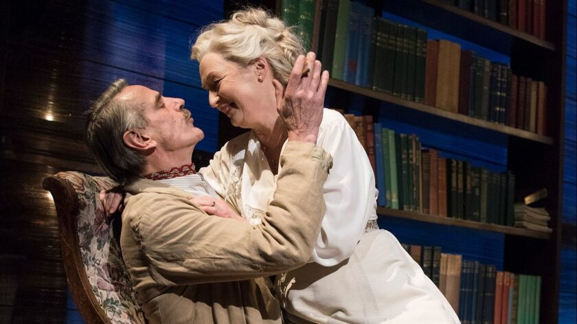 Lesley Manville and Jeremy Irons in Long Day's Journey Into Night. Photo Credit- Hugo Glendinning.