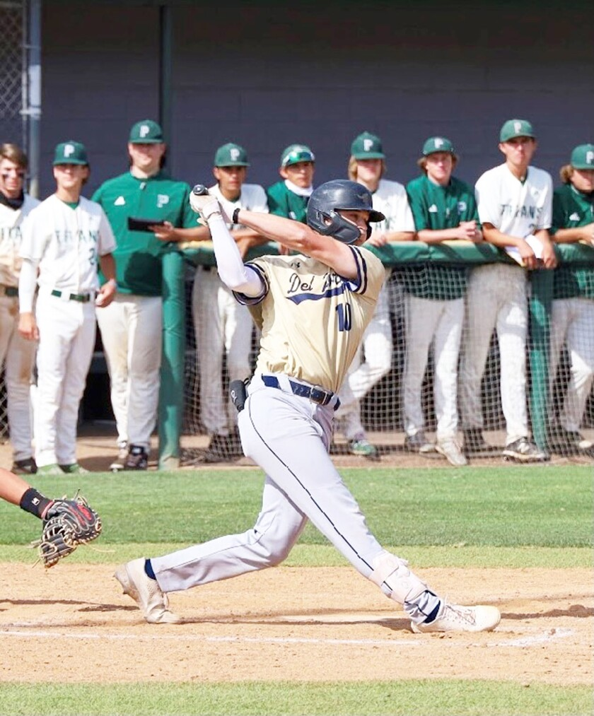 Del Norte Nighthawk Kyle Becker at bat during a game against the Poway Titans.
