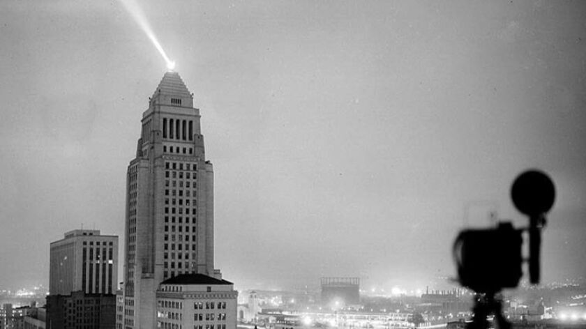 May 7, 1952: View of Los Angeles City Hall lite up at 5:15 a.m. as A-Bomb is exploded in Yucca Flat,