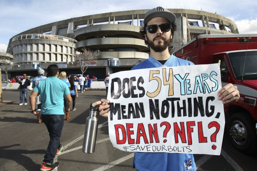 The sentiment expressed by Chargers fan Joseph Macrae at the Chargers' Dec. 20 game against Miami is is why it is time for Chargers fans to look forward.