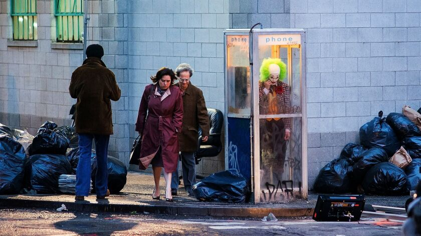 "Joaquin Phoenix films a scene for ""Joker"" in New York in September 2018."