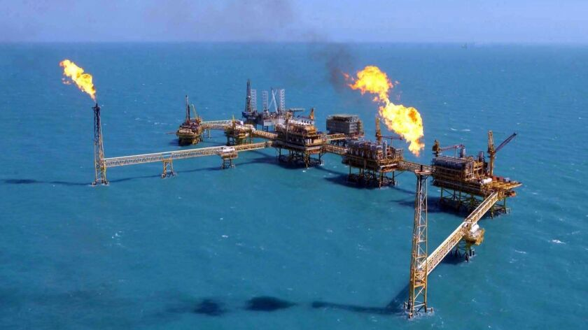 Offshore oil equipment along the Akal fault in the waters of Ciudad del Carmen in southern Mexico. T