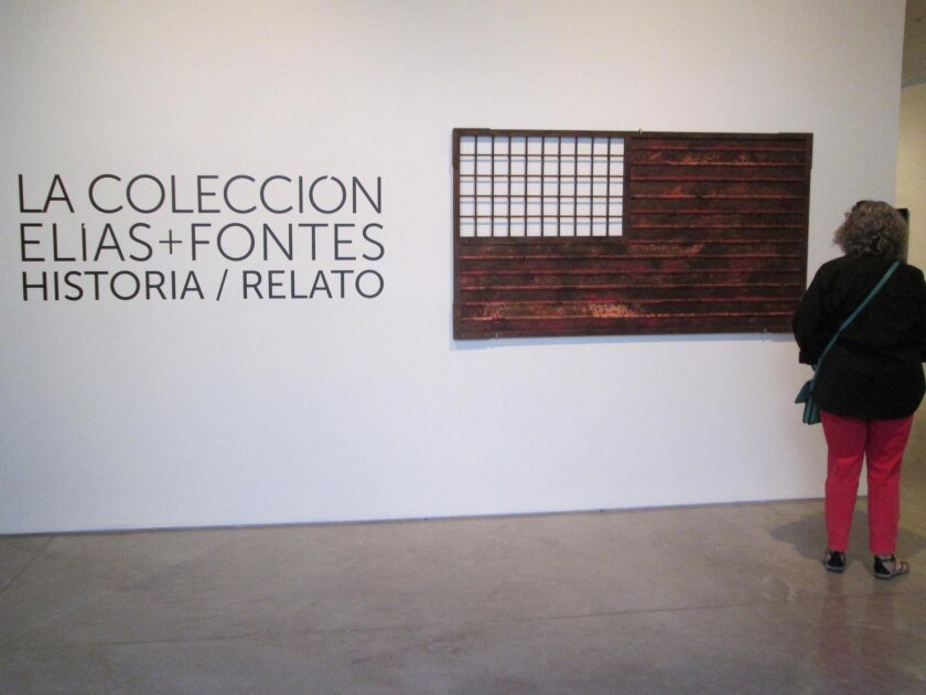Entry to the Elias-Fontes Collection at CECUT, with Marcos Ramirez Erre's homage to Jasper Johns, 'Stripes and Fence Forever'