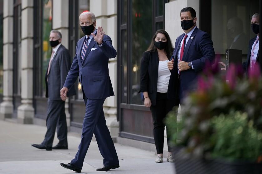 Joe Biden departs after campaign meetings Wednesday in Wilmington, Del.