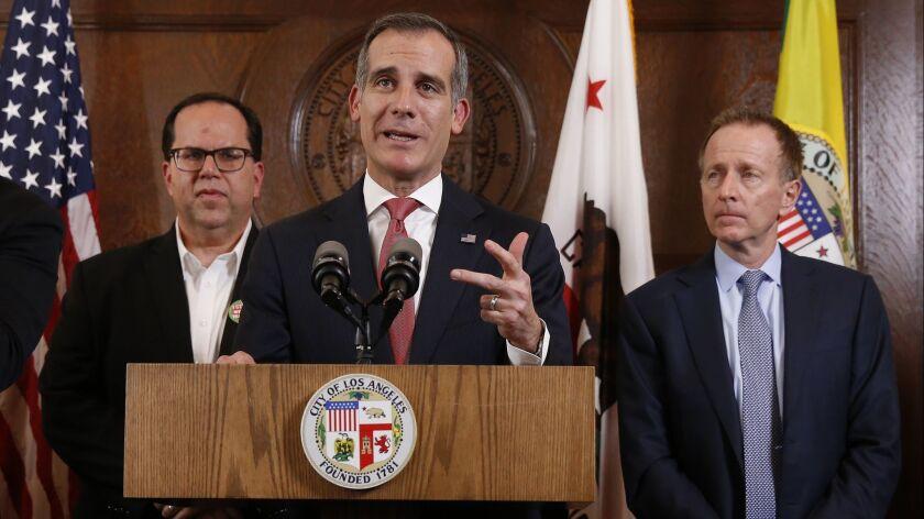 LOS ANGELES, CA - JANUARY 22, 2019 Los Angeles Mayor Eric Gacetti with United Teachers Los Angeles