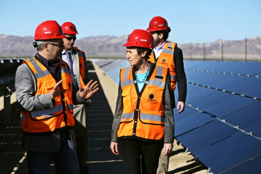 Sally Jewell at Desert Sunlight solar farm