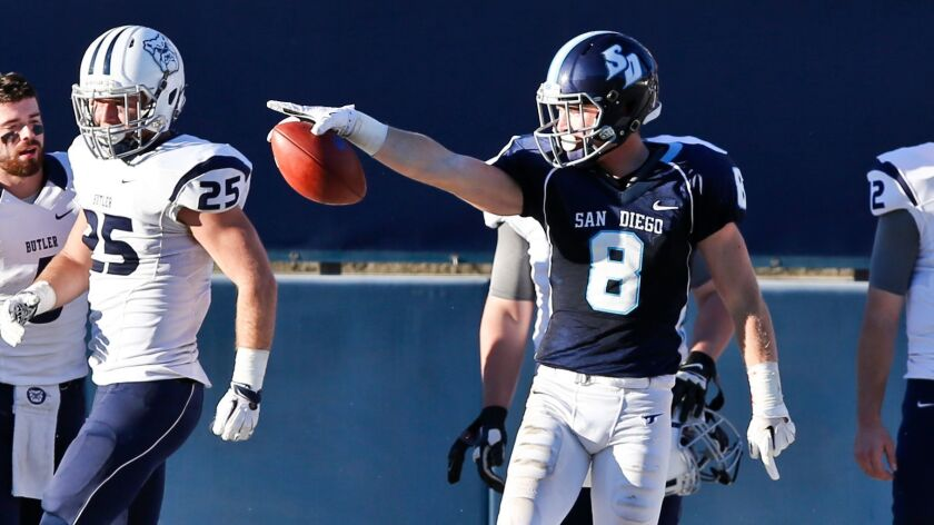 USD receiver Justin Priest has caught 72 passes for 10 touchdowns in his first three college seasons.