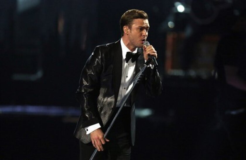 Justin Timberlake performs on stage during the BRIT Awards 2013 at the o2 Arena in London on Wednesday, Feb. 20, 2013. (Photo by Joel Ryan/Invision/AP)