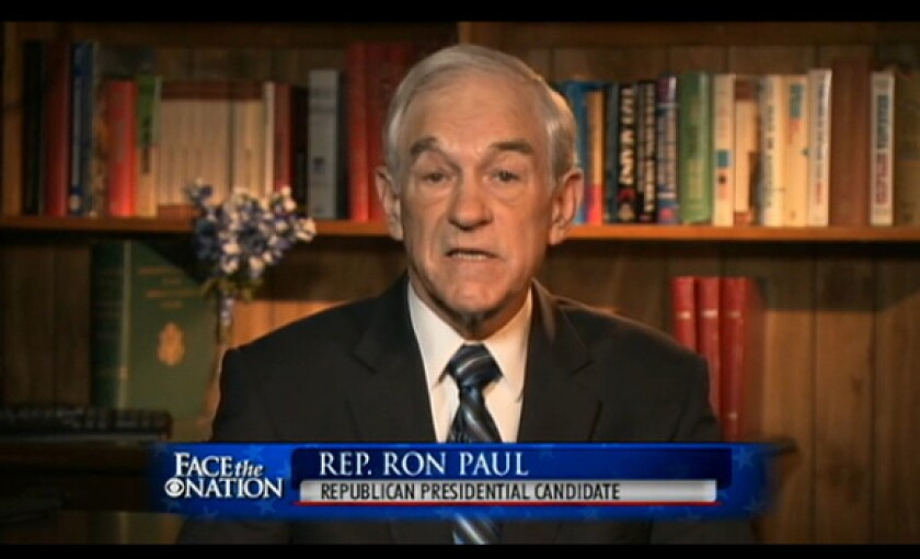 """Rep. Ron Paul is interviewed on CBS' """"Face The Nation"""" on Sunday."""