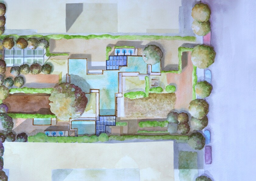 An overhead view shows Schindler's house with a new landscaping plan designed for privacy and to recycle grey water