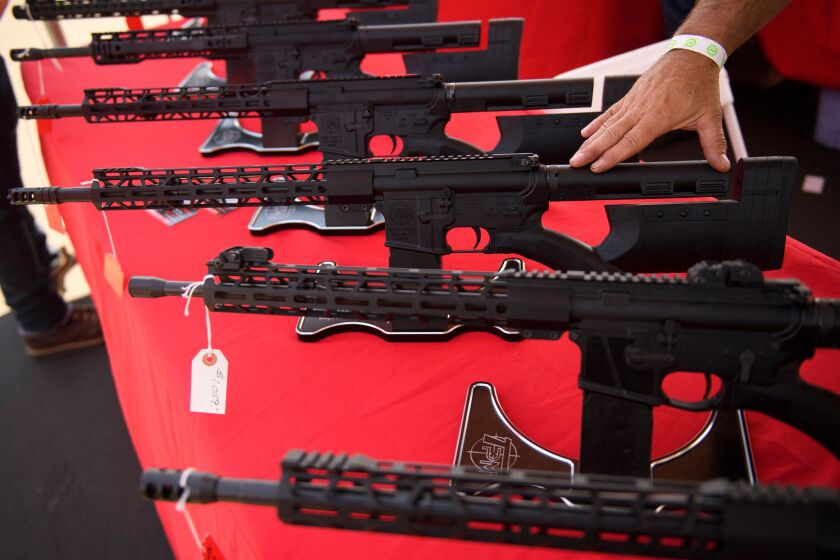 A TPM Arms LLC California-legal featureless AR-15 style rifle at the Crossroads of the West Gun Show on June 5.