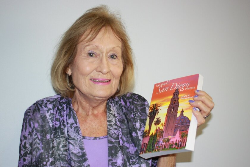 Author Linda Pequegnat with her book, 'This Day in San Diego History'