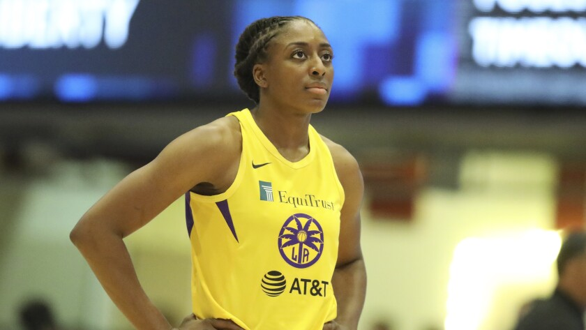 Sparks star Nneka Ogwumike catches her breath during a game against the Liberty last season in New York.