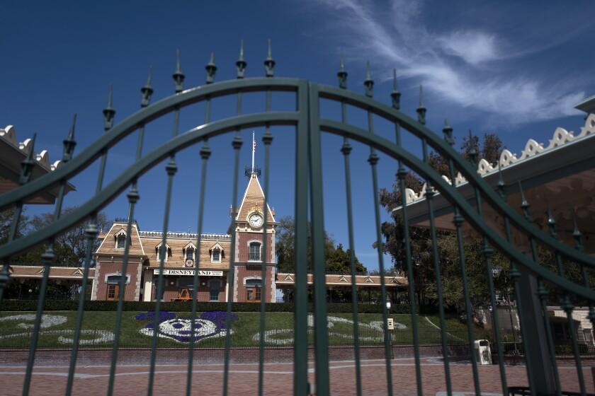 The locked gate at the entrance of Disneyland Park on March 17.