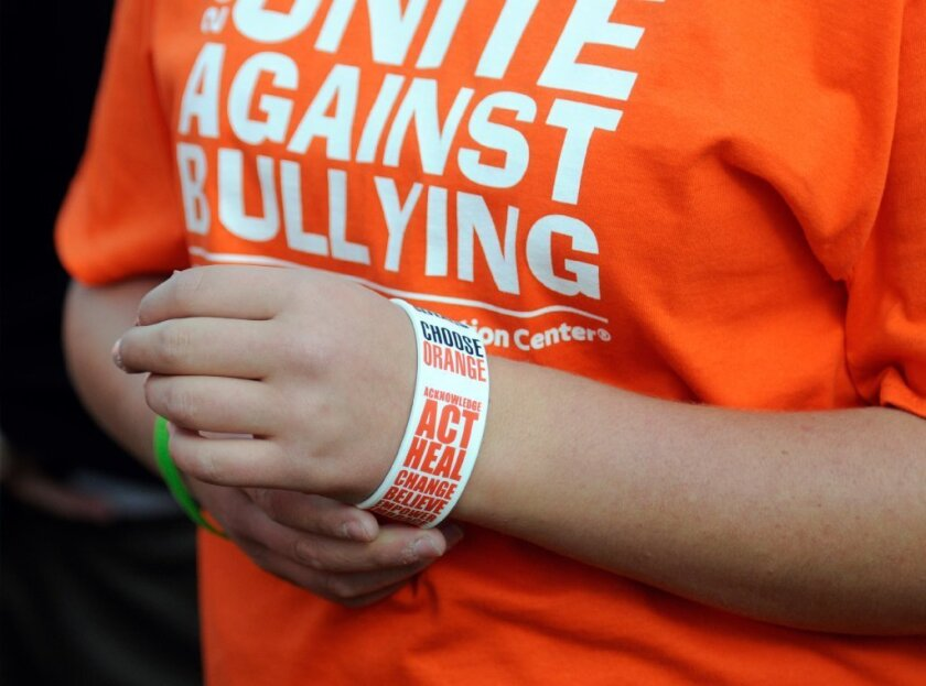 A student in Blue Earth, Minn., wears a T-shirt and wristband in support of National Bullying Prevention Month.