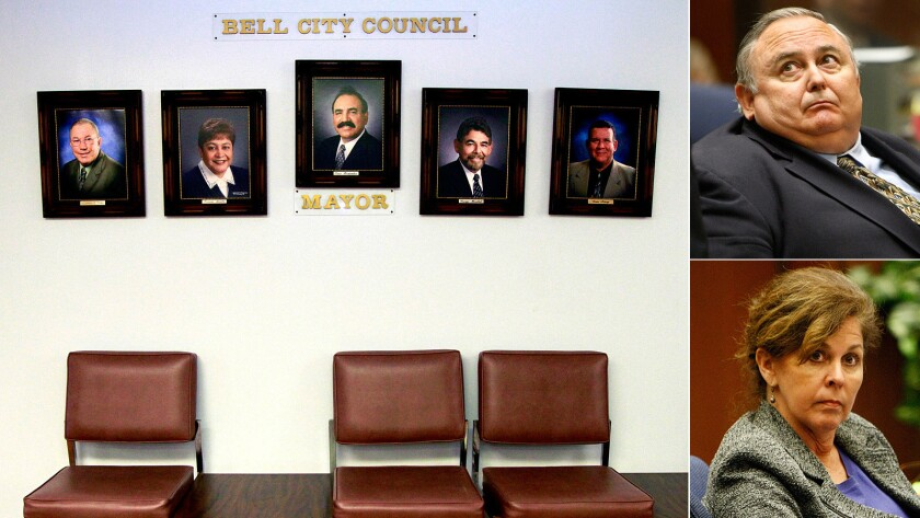 Portraits hang inside City Hall, left. Also, former city manager Robert Rizzo and assistant city manager Angela Spaccia.